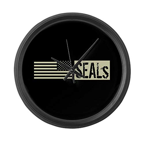 47BuyZHJX U.S. Navy Seals (Black Flag) - Large 10 in Round Wall Clock, Unique Decorative Clock
