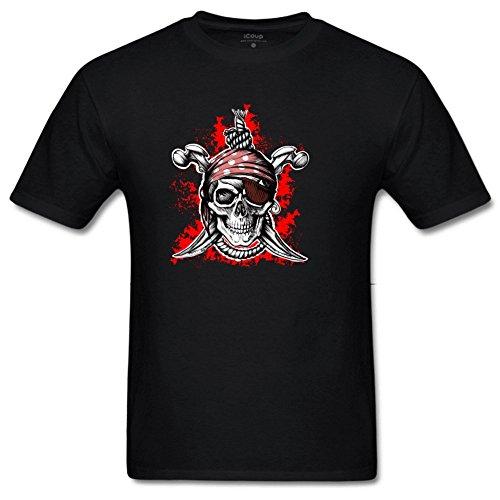 Bart Perkin Men's Skeleton Pirate Captain 100% Cotton Sleeves Short Sleeves Print T-Shirt XXXL Black