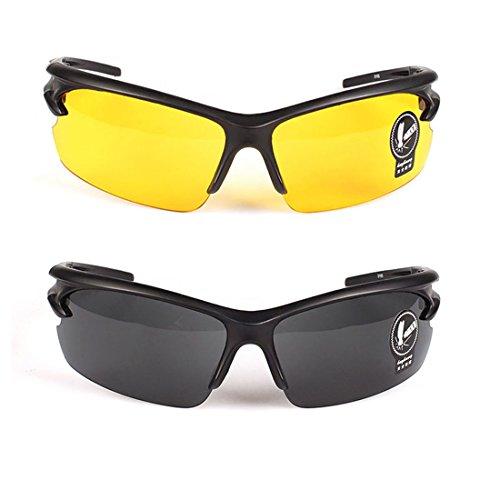 2 Pairs Sunglasses Anti Glare Non-Polarized Stylish Day And Night Vision Glasses best for Men Women Driving Cycling Shooting Hunting Skiing Outdoor Sports Protection