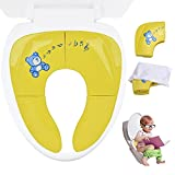 Ilyever Portable Folding Reusable Travel Toilet Potty Training Seat Covers Liners with Carry Bag for Babies, Toddlers and Kids,Yellow