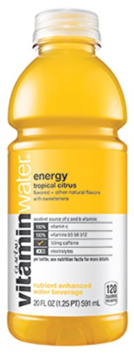 Glaceau Vitamin Water Energy Tropical Citrus, 20 Ounce (12 Bottles)