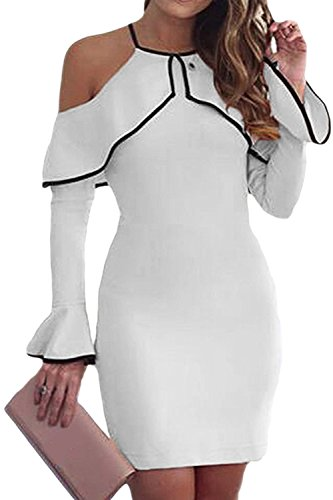 Froide Zojuyozio Les Mini Patchwork XXL Robe paule Bodycon Ruffle White Femmes lgant t pUqXap