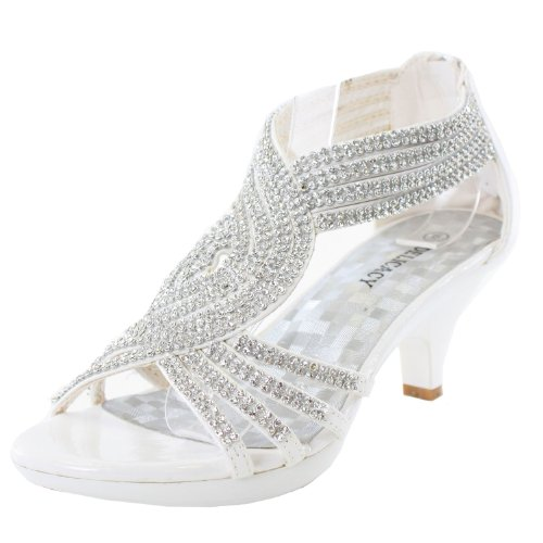 Delicacy Womens Angel-37 Strappy Rhinestone Dress Sandal Low Heel Shoes,White,8.5