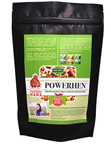 Backyard Chicken High Protein Herbal Treat with Dried River Shrimp, Black Soldier Fly Larvae, Mealworms, Basil, Hibiscus Flowers, Rose Petals (PowerHen) (8 pounds) from Pampered Chicken Mama