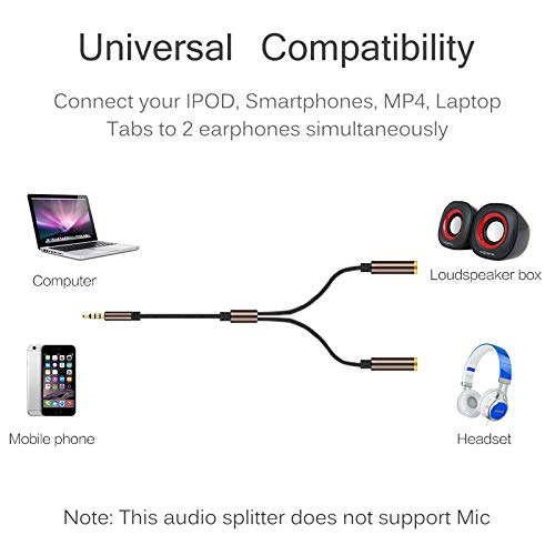 SaveStore Earphone Share Adapter Cord 3.5mm Audio Aux Male to 2 Female Headphone Extension Cable Connected Line Splitter Distributor