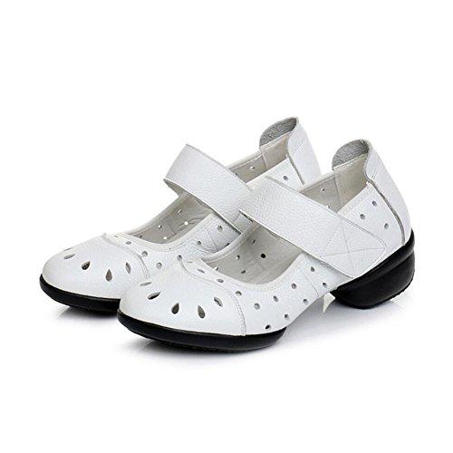 Ballo Xue Da Arrotondata Quadrato Senza Con Sneakers Moderne Velcro Comfort In Cuciture Donna Punta Passeggio Traspiranti Scarpe Latine Pelle B UXwrX