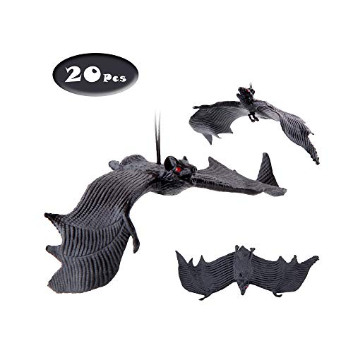 X Hot Popcorn 10 Pcs Halloween Décor Simulation Hanging Bats Fake Bat Tricky Props for Halloween April Fool's Day -