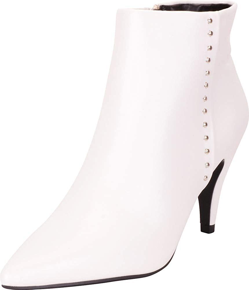 White Pu Cambridge Select Women's Pointed Toe Studded Mid Heel Ankle Bootie