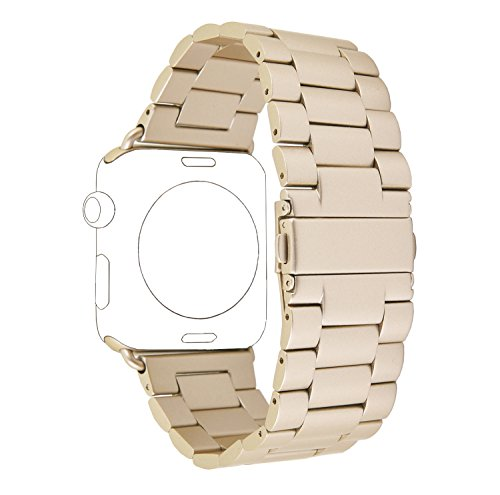 Apple Watch Band, PUGO TOP 38mm Stainless Steel Metal Replacement Classic Band for Apple Watch Series 2 Series 1 38mm, Gold