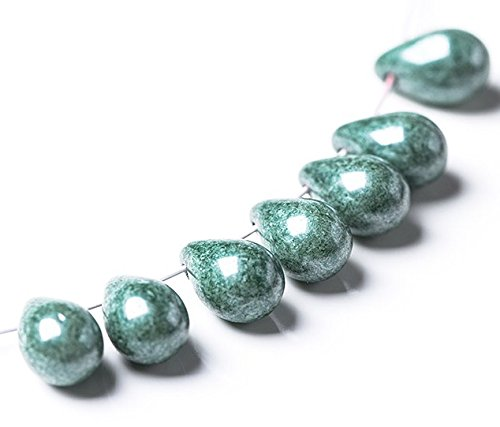 - 20 pcs Czech Glass Smooth Teardrop Beads 9x6mm - Opaque Marble Emerald Green