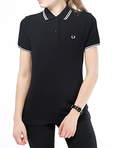 Fred Perry - Polo ajustado mujer Fred Perry negro Twin Tipped Fred Perry Shirt Negro