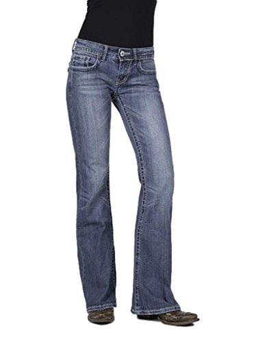 (Stetson Women's 816 Classic Fit Rhinestone Flap Pocket Jeans Denim 4 R)