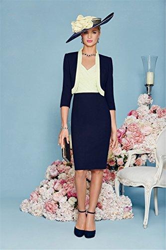 Dressvip, colore: blu scuro con scollo a V, modello Split Sleveless lunghezza al ginocchio, con scritta Mother of The Bride
