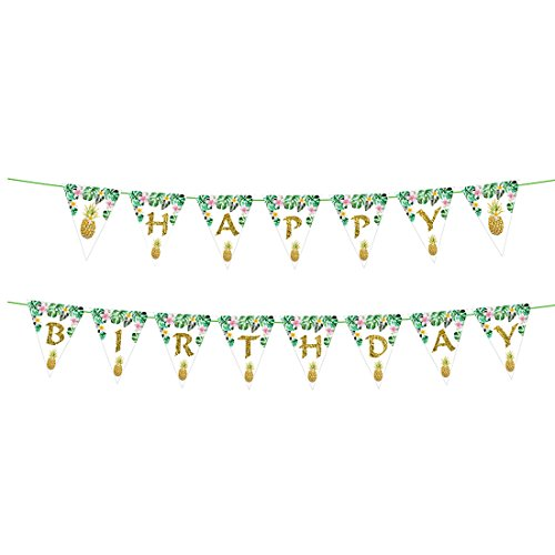 Hawaii Tropical Themed Party Supplies, Pineapple Palm Leaves Happy Birthday Banner for Hawaii Summer Beach Garland Party Supplies, Hawaiian Party Decor