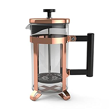 bonvivo Gazetaro III I Design French Press Coffee Maker and Cafetiere, Made Of Stainless Steel And Heat Resistant Borosilicate Glass, In Rose-Gold-Copper Finish With Bonus Filter, (34 Ounces)