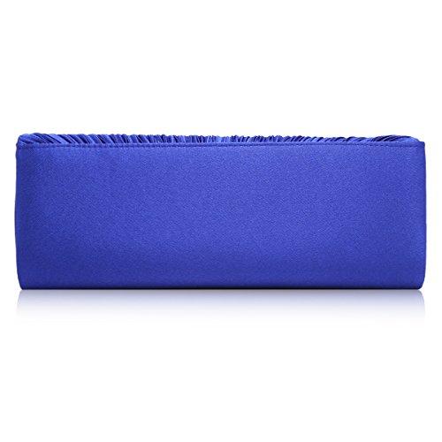 Reflejos brillantes de curva Damara pliegue de satén graciosamente de diseño de piel de cadena, color azul, talla large azul - azul