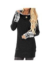 Theshy Women's Long Sleeve Hoodie with Plaid Cuffs and Sweatshirt Hood Tops