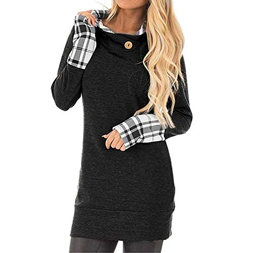 BOLUOYI Sweatshirt for Women with Pockets,Women Autumn Winter Long Sleeve Casual Solid Sweatshirt Pullover Top Blouse (Black 01, XXL)