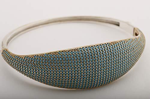 (Authentic Style Turkish Handmade Jewelry Round Shape Turquoise Zircon 925 Sterling Silver Cuff Bangle Bracelet)