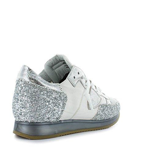 Femme Blanc Philippe Été Glitter Model Baskets Chaussures Printemps Tropez Argenté 2018 nqzrEz0H1