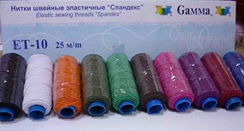 Elastic Sewing Threads Gamma Spandex Hand & Machine Embroidery Sewing Kit Stretch Threads Assorted Lot Mixed Set of 10 Spools Tubes Color Multicolor #3