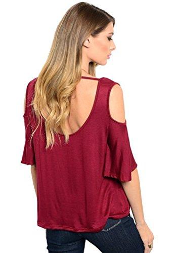 NiSeng Mujeres Casual Color Sólido Suelto Mangas Acampanada Manga Corta Off Shoulder Escotado Por Detrás Cuello Redondo Camisas Blusa Rojo