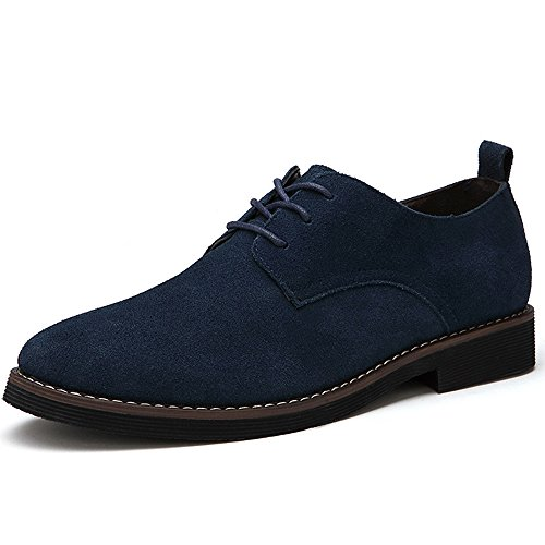 (MHB Men's Suede Leather Oxford Shoes Plain-Toe Laces Flat Casual Breathable Low Shoes 10in Navy)