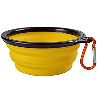 Pet Collapsible Bowl, Collapsible Dog Water Bowls for Cats Dogs, Portable Pet Feeding Watering Dish for Walking Parking Traveling (Small - 12 oz, Yellow)