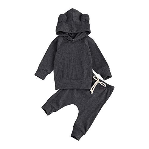 LUCSUN Pasgeboren Baby Jongens Outfit Set Lange Mouwen Effen Kleur Hoodie Sweatshirt Top en Broek 2 Stks Kleding Set