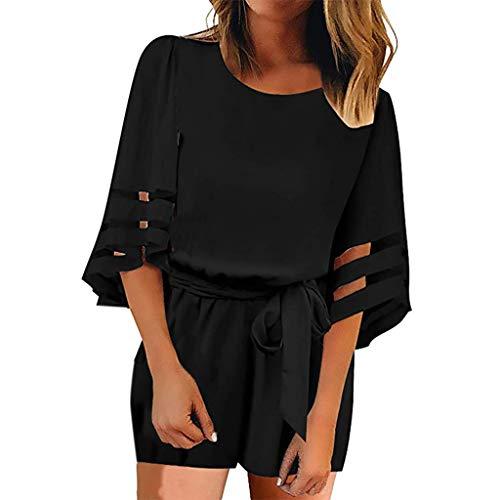 - Berryhot Women's Mesh Panel Blouse 3/4 Bell Sleeve Self-Tie Belted Short Romper Jumpsuits