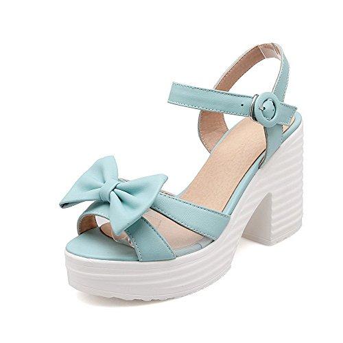 AllhqFashion Women's Open Toe Buckle PU Solid High Heels Sandals Blue bqGUkVliy