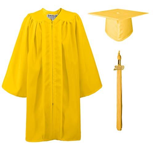 GraduationMall Matte Kindergarten Graduation Gown Cap Set with 2019 Tassel Gold 33(4'0