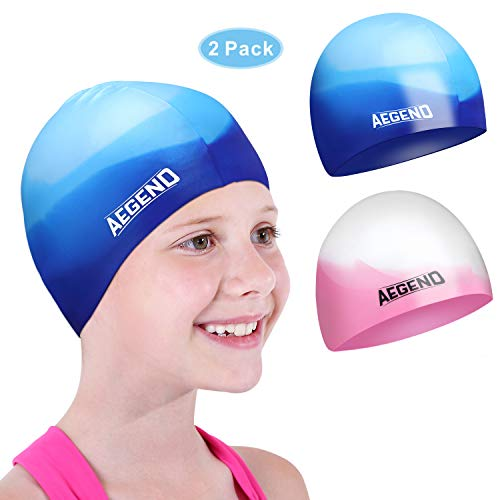 aegend Youth Swim Cap (Age 5-10), 2 Pack, Blue & Pink