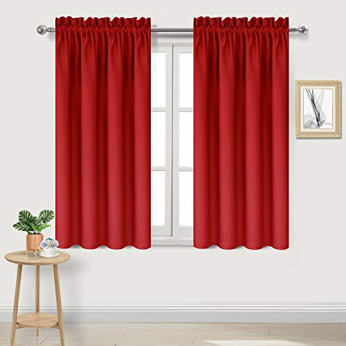 DWCN Blackout Thermal Insulated Room Darkening Window Curtains Red Kitchen Curtains,38 x 54 inches Long,Set of 2 Short Curtain Panels ()