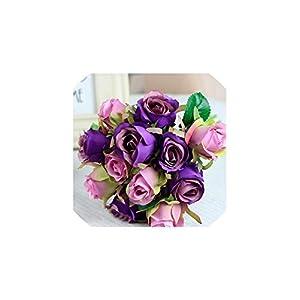 Fashion-LN 1 Bouquet Artificial Rose Bouquet Decorative Silk Flowers Bride Bouquets for Wedding Home,12pcs Purple 11