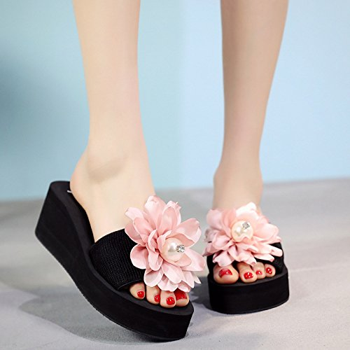 Slippers Bottom Flat XKNSLX Beach Slippers Slippers Beach Thick Female 6cm blue Outside Bottom and Flower Casual Summer Slippers qYqrBRZ