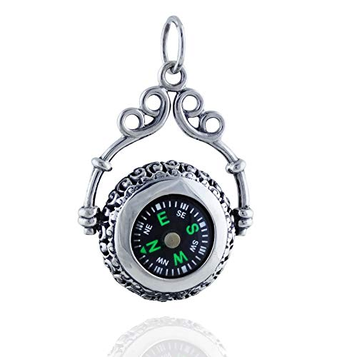 Victorian Filigree Working Compass Pendant - 925 Sterling Silver - Nautical - Jewelry Accessories Key Chain Bracelets Crafting Bracelet Necklace Pendants