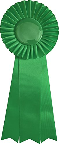 Medium-Large Green Ribbon Award Rosette - for Prize, Party, Gift, or Prop - 13