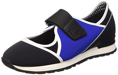Leather Blue Femme Cut Black L Out Kate Shoe Chaussures Noir Blk Lycra Bikkembergs Basses 664 W 48fn6