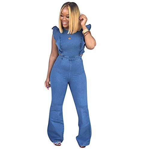 - ECHOINE Women's Sexy Ruffled Denim Jumpsuits Solid Wide Leg Long Romper Pants Clubwear