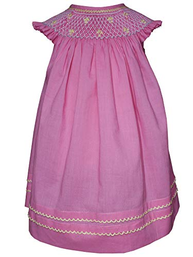 Baby Girls Pink Hand Smocked Bishop Dress for Summer 12m