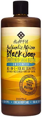 Alaffia - Authentic African Black Soap, All-in-One Body Wash, Shampoo, and Shaving Soap, All Skin and Hair Types, Fair Trade, No Parabens, Non-GMO, No SLS, Unscented, 32 Ounces