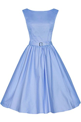 Azbro Vestido Elegante Plisado Color Sólido Light Blue