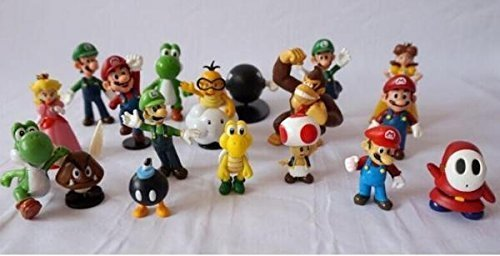 "18pcs/set 1.4""-2.5"" Super Mario Bros PVC Action Figures Yoshi Dinosaur Toys Set Kids Gift Home Decoration"