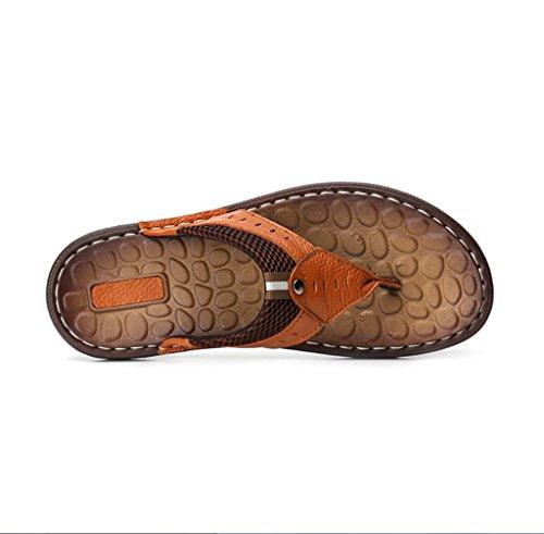 Pantoufles Taille Brésilienne Sourire Cuir Hommes Sandales Sandales LIANGXIE Hommes D'Été en De La Première De À Pantoufles Femmes Grandes Couche Marron Pantoufles De Main Plage dgqwptBxp