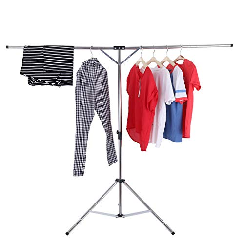 Auvem Foldable Portable Clothes Drying Rack, Adjustable High Capacity Stainless Steel Telescopic Indoor and Outdoor Balcony Mobile Travel Retractable Hanger