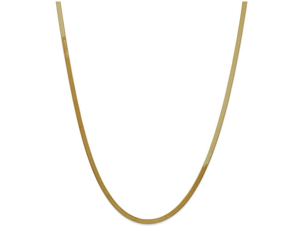 18 Inch 14k Yellow Gold 3.0mm Silky Herringbone Chain Necklace