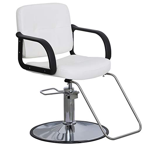 BarberPub Classic Hydraulic Barber Chair Salon Beauty Spa Styling Chair 8837 (White)