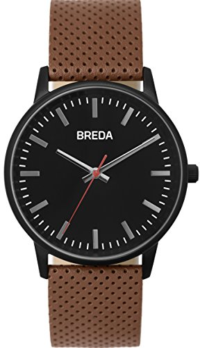BREDA Men's 'Zapf (perforated)' 1725c Black and Brown Leather Strap Watch, 39MM