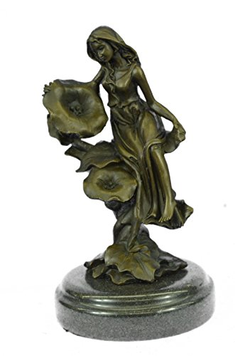 Girl Bronze Sculpture Statue - Handmade European Bronze Sculpture Signed~Mavchi~ Daydream Girl Art Deco Nouveau Marble Figurine Bronze Statue -3X-YRD-1264-Decor Collectible Gift